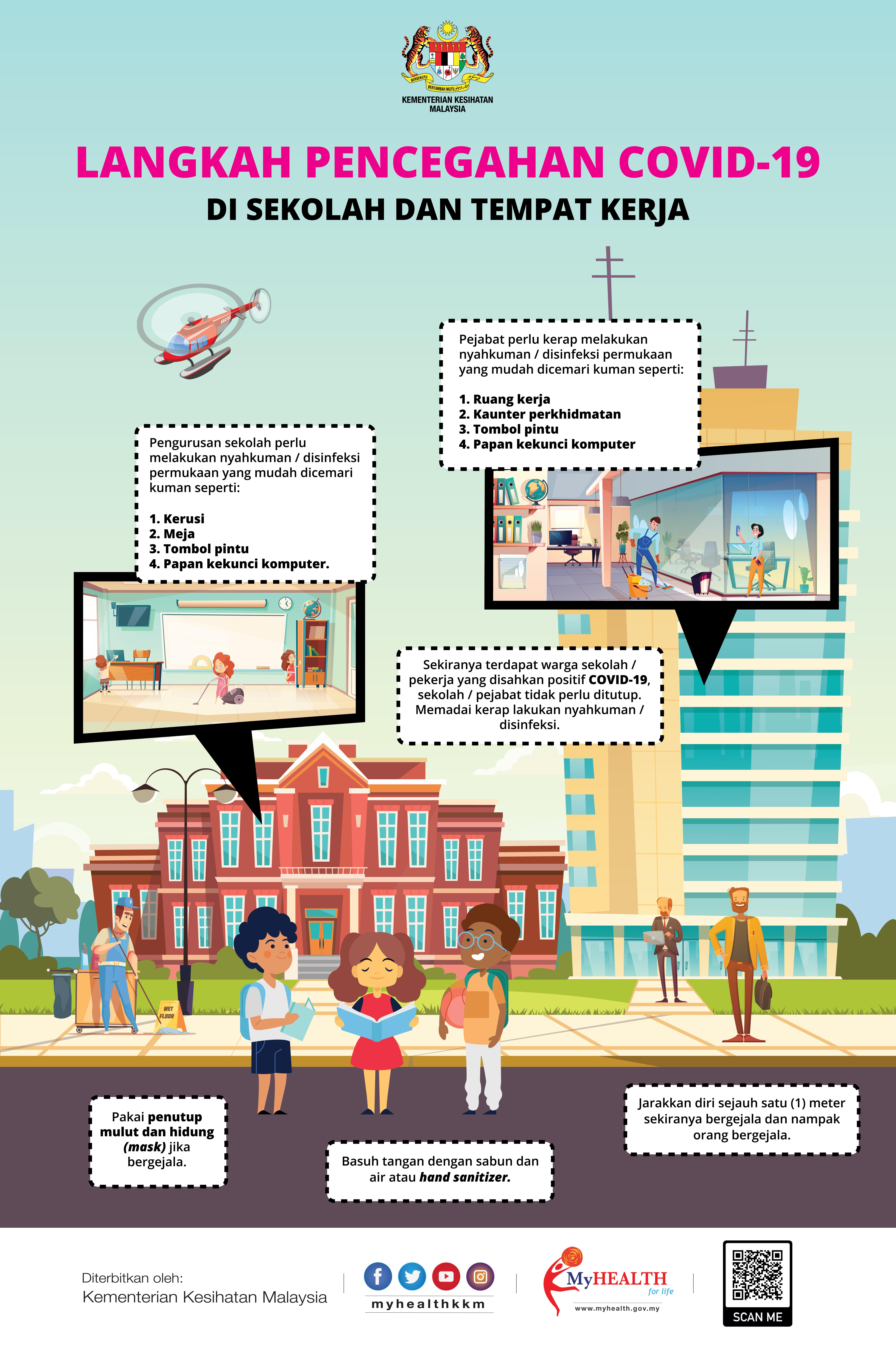 Langkah Pencegahan COVID 19 Di Sekolah & Tempat Kerja