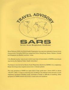 SARS :Garis Panduan Perjalanan SARS (Bahasa Inggeris)