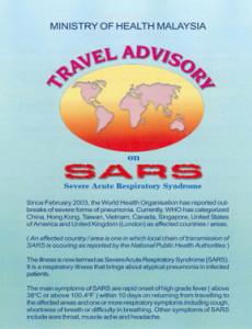 SARS :Garis Panduan Perjalanan SARS (English)