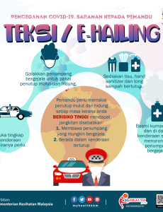 Pencegahan COVID-19. Saranan Kepada Pemandu Teksi/E-Hailing